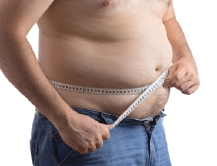 Man with massive amounts of excess stomach fat