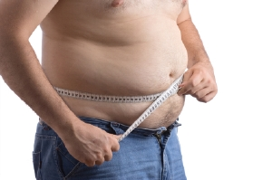 Man with too much stomach fat